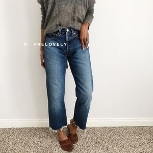 LEVIS | 501 Button Fly Cropped Straight Leg Jeans